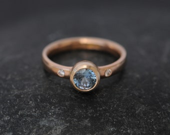 Sapphire Engagement Ring in 18K Rose Gold Montana Sapphire Engagement Ring Conflict Free Sapphire And Diamond Ring Rose Gold Eco Ring