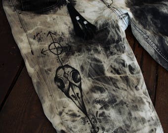Hand dyed hand painted unique pagan skull acid dye black&white jeans size 31/32 (~M-L)