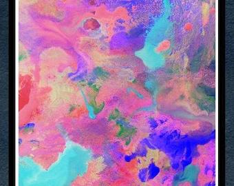 Tanz der Farben - original abstrakte Acrylgemälde Druck Wohnzimmer Wand Dekor abstrakt Acryl original Kunst moderne abstrakte Papierkunst