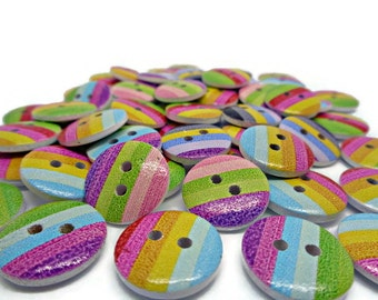 10 stripy buttons, rainbow buttons, striped buttons, sewing buttons, uk button supplies, cardmaking buttons, scrapbook supplies, 15mm button
