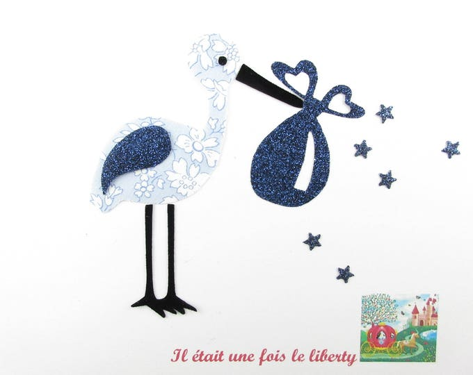 """Applique liberty fusing Stork birth Capel blue """"it's a boy!"""" iron-on patch applied Stork iron on"""