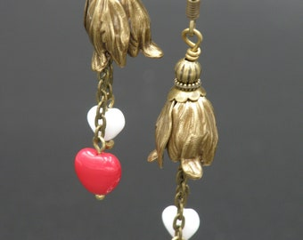 Antique Brass Flower Bells w/Red and White Heart Dangles on Antique Brass Hooks