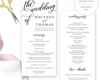 Calligraphy Wedding Program. Program Template. Wedding Program Instant Download.  Wedding Program Template Download. Printable Program. (BR)