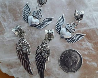 4 Angel Wing Heart Rose Pendant Charms