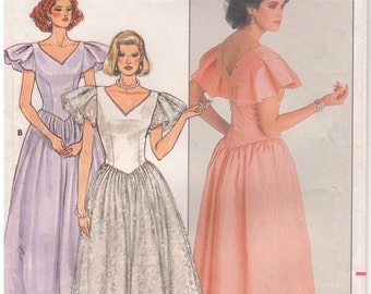1986 - Butterick 3684 Vintage Sewing Pattern Size 6 Bust 30 1/2 Kathryn Conover Evening Formal Dress Gown Bias Neck Close Fitting Dirndl