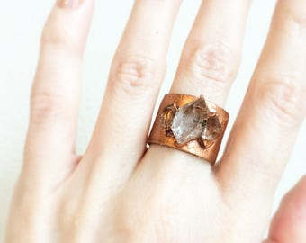 Herkimer Diamond Copper Ring, Crystal Statement Ring, Size 6.5 Ring