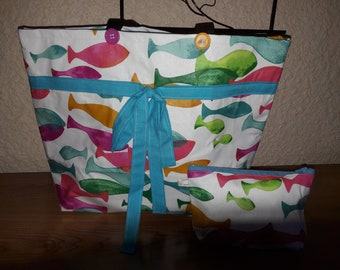 """Beach pattern """"fish"""" with its matching pouch bag."""