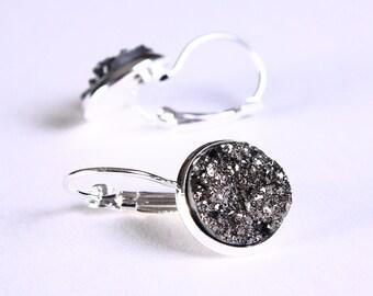 Silver plated black and silver dangle drop earrings - Faux Druzy earrings - Textured earrings - Nickel free earrings (729)