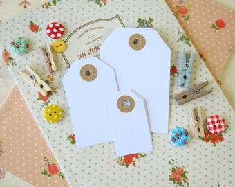 White Silk handmade reinforced Luggage Tags