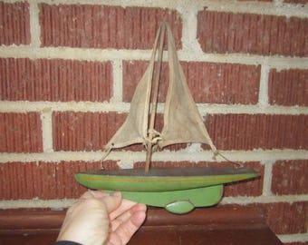 Vintage 1930s Wooden Toy Pond Boat Yacht Folk Art Nautical Decor