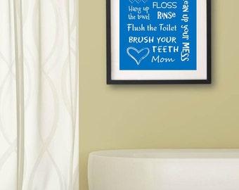 Kids Bathroom Art Decor Bathroom Artwork Printable Art Print Instant Download Bathroom Wall Quote Sign Blue