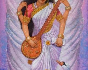 Saraswati spiritual art Hindu Goddess India yoga poster print of painting by Sue Halstenberg