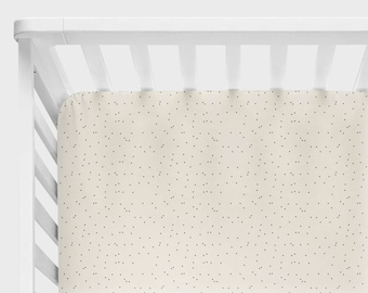 Neutral Crib Bedding, Mini Crib Sheets, Black Dot Fitted Sheet, Monochrome Changing Pad Cover, Boy Baby Nursery, Alma Mini, Hello Bear