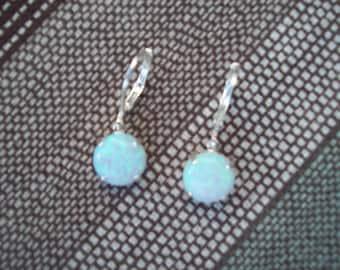 Opal Earrings in 925 Sterling Silver 10mm round