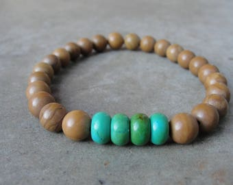 Turquoise Picture Jasper Bracelet. Beaded Bracelet. Mens Jewelry. Simple Minimal. Gift for Him. SydneyAustinDesigns.