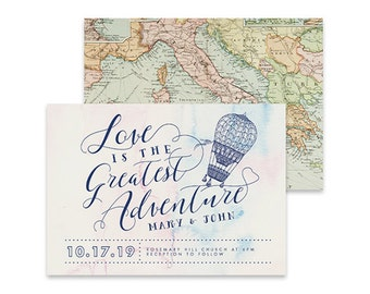 Destination Wedding Invitation | Traveller| Printable DIY Invite, Affordable Wedding Invitation | Vintage World Map with Navy