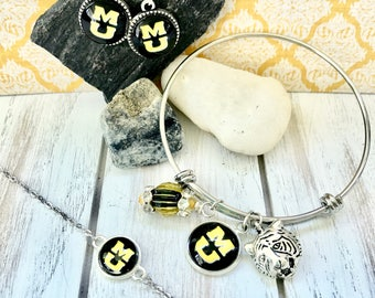 MU Jewelry -- Great Gift for University of Missouri Fans! Tiger Bracelet, MU Necklace, MU Earrings