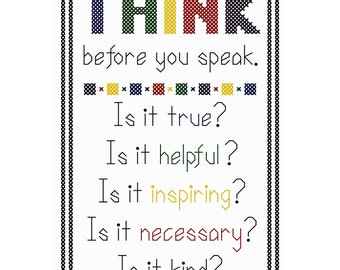 Think Before You Speak (Bright Version) - Original Cross Stitch Chart