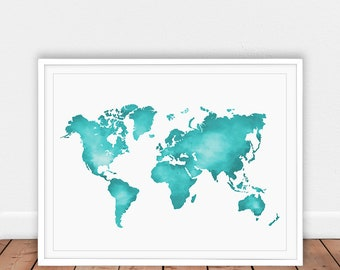 Turquoise world map etsy gumiabroncs Gallery
