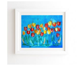 Tulips in Blue Wall Art - White Frame