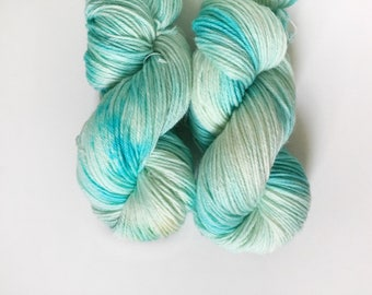 Aqua Splash, Hand-Dyed Worsted Weight Yarn, Tonal Yarn, OOAK