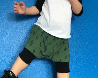 Toddler Boy Harem Shorts, Olive Green Lightning Bolts, Baby Boy Shorts, Harem Shorts, Toddler Shorts, Shorties, Grow With Me, Baby Harem