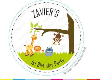Jungle Party Stickers, Thanks You Stickers. Birthday stickers, PRINTED round Stickers, tags, Labels A985