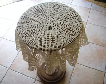 Ecru tablecloth for small side table