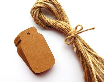 10 -100 pcs. Mason Jar Kraft Brown Tags, Paper Punches, Wedding Favor Tags, Canning Jar, Price Tags, Gift Wrap Supplies - Labels, Showers