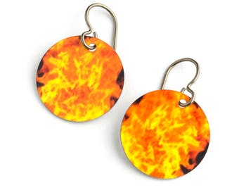Flames Photo Earrings on Titanium Ear Wires