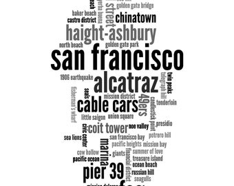 """Printable Wall Art """"San Francisco"""" Collage Word Cloud Instant Download"""