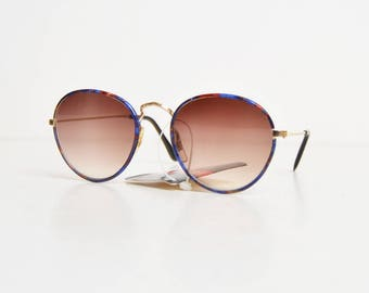 Vintage 90s Round Marbleized Enamel and Gold Sunglasses Shades