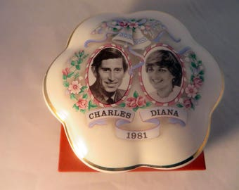 Vintage Royal Worcester Charles & Diana Royal Wedding 1981 Palissy Spode Commemorative Trinket Pot in original box