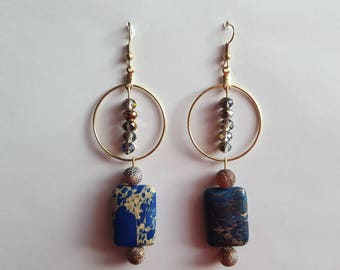 Multi colored stone dangled drop beaded earrings