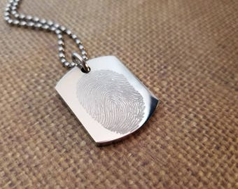 FINGERPRINT Dog tag (Thick) necklace in solid stainless steel engraved -includes ball chain or keychain