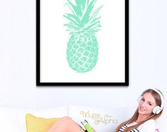 Mint Summer Wall Art, Mint Pineapple Art, Summer Print, Pineapple Pastel Mint Art, Printable Mint Pineapple, Printable Pineapple Fruit Decor