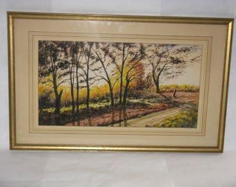 Vintage original watercolor painting C.L. Krantz trees landscape
