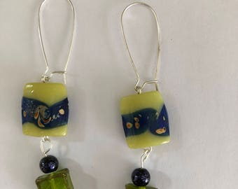 Funky green dangly earrings