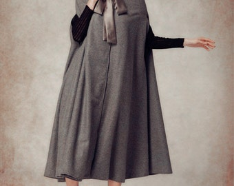 Grey Wool Coat in Winter, Cashmere Wool Cape, Wool Cloak Cape in Grey, Wool Jacket, Witch Coat, Long Coat, Maxi Wool Coat