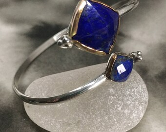 Sky and stars lapis lazuli handmade sterling silver cuff with gold filled accents, bypass bracelet, adjustable, pop of color, winter fashion