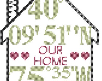 Housewarming Cross Stitch Pattern, Longitude and Latitude cross stitch pattern, house cross stitch pattern, home cross stitch chart