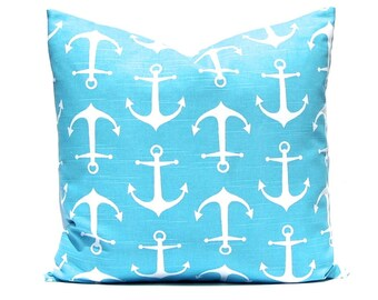 Turquoise Pillow Cover, Coastal Blue Pillow, White Anchors on Blue, Pillow Cover,  Beach Decor, One, Anchors  Aqua on White Cushion Covers