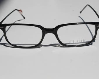 elegant vintage  CLARK 9859 031 C.2 48-18 135 black with dark silver grey detail thin light rectangle eye / sunglasses frame Italy New