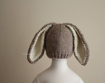 Bunny Hat, rabbit hat, easter hat, hat with ears, animal hats, handmade hat, photo prop hat