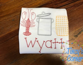 Crawfish Boil Embroidery Vintage T-Shirt