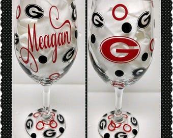 Gooooooo Dawgs! FABULOUS UGA wine glass!!!!