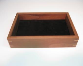 Wood Valet Tray, Valet Box made from Black Walnut with Maple splines  #208