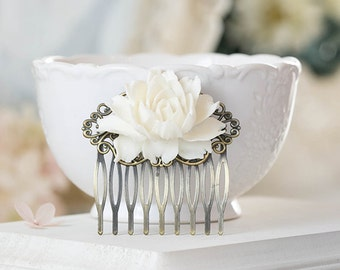 Cream White Rose Flower Hair Comb, Wedding Hair Comb, Bridal Hair Comb, Bridesmaid Gift, Vintage Style Antique Brass Filigree Hair Comb