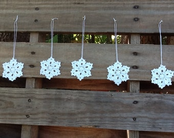 Set of 5 hand crocheted snowflake ornaments