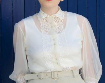 1950's sheer nylon lace edged blouse